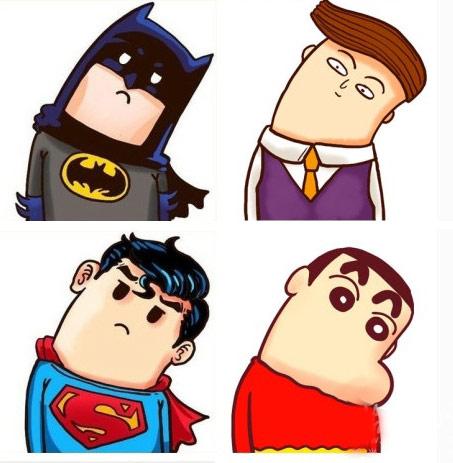 蝙蝠侠,超人,小新都歪脖子了
